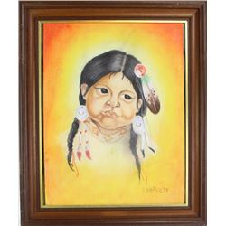 """Original painting signed V. Driver 1977 depicting a young Northern Plains Indian girl, image 15"""" X 1"""