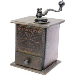 Antique Parkers 1 pound coffee grinder in wonderful original condition including paper label, hardwa
