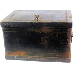 """Antique iron strong box with original paint, and key, interior lined in wood, 9"""" X 10"""" X 14""""."""
