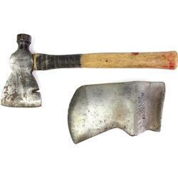 Collection of 2 Winchester marked items includes large axe head minus handle and combo hatched hamme