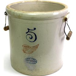 Red Wing 5 gallon crock pat'd Dec. 2 1915, one original and one replacement handle, shows very good,