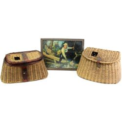 Lot of 3 cabin decor items includes 2 fishing creels and an period lithograph of a fisherman about t