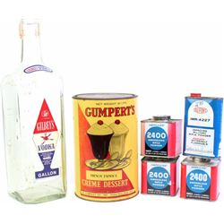 Collection of 6 includes Gilbeys 1 gallon Vodka bottle, vintage Gumperts Tapioca Dessert tin with or