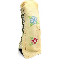 """Contemporary beaded soft cradle on tanned buckskin with floral pattern, nicely accomplished, 24"""" tal"""