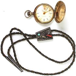 Collection of 2 includes nice quality old pawn Navajo bolo tie with turquoise and red coral bezel se