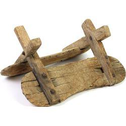 """Early wood pack saddle, 19"""" long."""