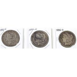 Collection of 3 Morgan Silver Dollars, includes 1882 O, 1886 O and 1892 O.