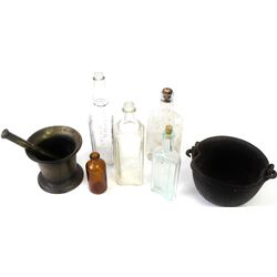 """Collection of 7 includes small cast iron antique cauldron, 6"""" diameter, antique morter and pestle, 5"""