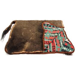 Small buffalo robe hair on buggy blanket with felt trim and cotton lined which appears to be an old