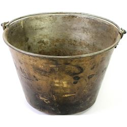 Early brass trade pail marked American Brass Kettle No. 5 to bottom.