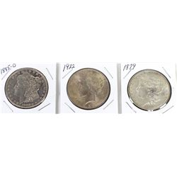 Collection of 3 Morgan Silver Dollars, includes 1879, 1885 O and 1900.
