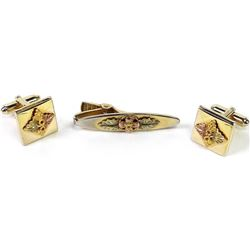 Vintage Black Hills Gold mens cufflinks and tie clip.