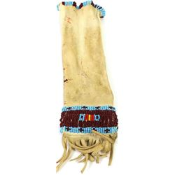 """Small beaded medicine bag Plains style 9"""" long with fringe."""