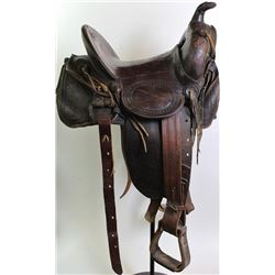 """Al Furstnow Miles City Montana stamped square skirt saddle No. 487, 14 1/2"""" seat, stamped in 5 place"""