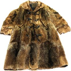 Old frontier full length fur coat with outside pockets, beaver fur trimmed collar and cuffs, wood bu