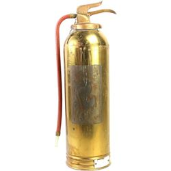 """Large brass fire extinguisher missing label, metal tag """"Homestake Mining Company"""", 25"""" tall."""