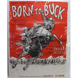 """Large Casey Tibbs full sheet movie poster """"Born to Buck"""", 30"""" X 40"""", very good condition."""