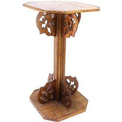 "Original piece of Tramp Art side table, 22 1/2"" tall, original finish."