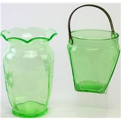 """Collection of 2 good early green depression glass items, includes large vase 9"""" tall and metal handl"""