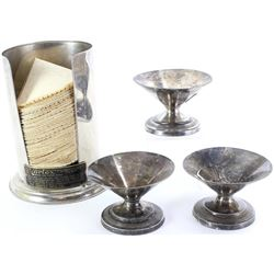 """Collection of 4 includes paper dispenser and 3 ice cream cups, brass tag reads """"Bortex Soda Fountain"""