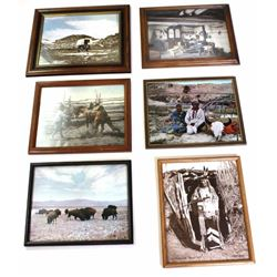 Collection of 6 LA Huffman photos from Coffrins Old West Gallery Miles City MT., hand tinted photos
