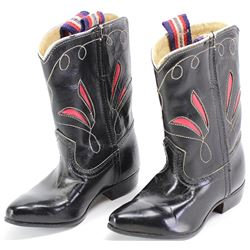 """Childs cowboy boots, black with red cutout uppers, excellent overall, 6"""" long."""