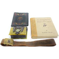 """Collection of 4 includes dresser box in form of a box, hand tooled Italian book cover, """"A Cartoon Hi"""