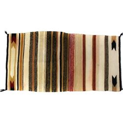 """Navajo rug 29"""" X 59"""", some small light staining and bleed, NO holes, tears or repairs."""