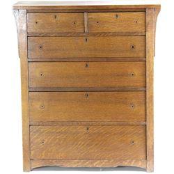 Unmarked Mission oak dresser 6 drawer, missing hardware and drawer but good finish, good solid resto