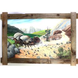 """Large oil on board painting of stagecoach scene, signed Robert Watts, barnwood framed, 40"""" X 58""""."""