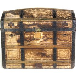 """Antique hump back trunk with replaced handles otherwise good to very good, 20"""" X 25"""" X 32""""."""