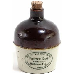 """Rare antique miniature advertising jug 4"""" tall, """"Pheonix Club Whiskey for the Man Who Knows"""" Chicago"""