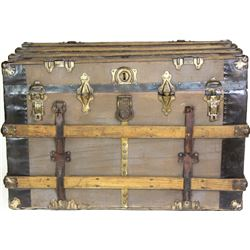 """Large antique flat top travel trunk 20"""" X 24"""" X 36"""", overall good."""