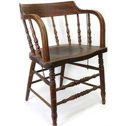 Pair of antique saloon style chairs with bentwood back and arms, turned spindles, original finish.