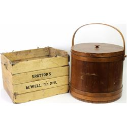 Collection of 2 includes antique folding store box from Brattons Newel So. Dak and large wood sugar