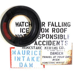 """Collection of 4 Homestake items includes mold for Ross Shaft 25"""" diameter, 3) tin signs."""