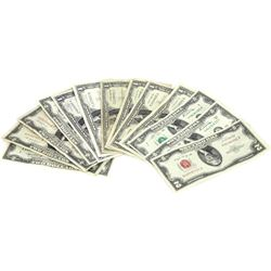 Lot of 13 collector currency bills includes 6) 1$ Silver Certificates 7) 2$ bills.