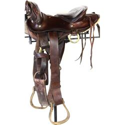 """Interesting Abercrombie and Fitch equestrian saddle with 14"""" padded seat, all show very good."""