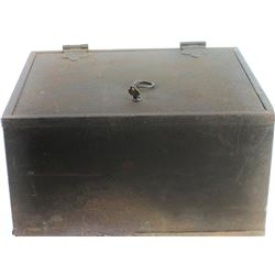 """Antique metal lock box with original key, outside shows overall gray patina, 9"""" X 13"""" X 16""""."""