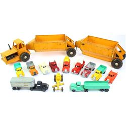 """Collection of vintage toy trucks includes Wyandotte Double Belly Dump complete, 35"""" long and 12) Too"""