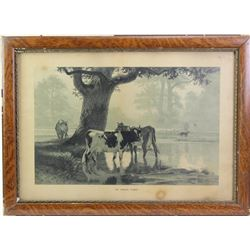 """Late Victorian lithograph """"At High Noon"""" in original oak and gesso frame which shows some loss, imag"""