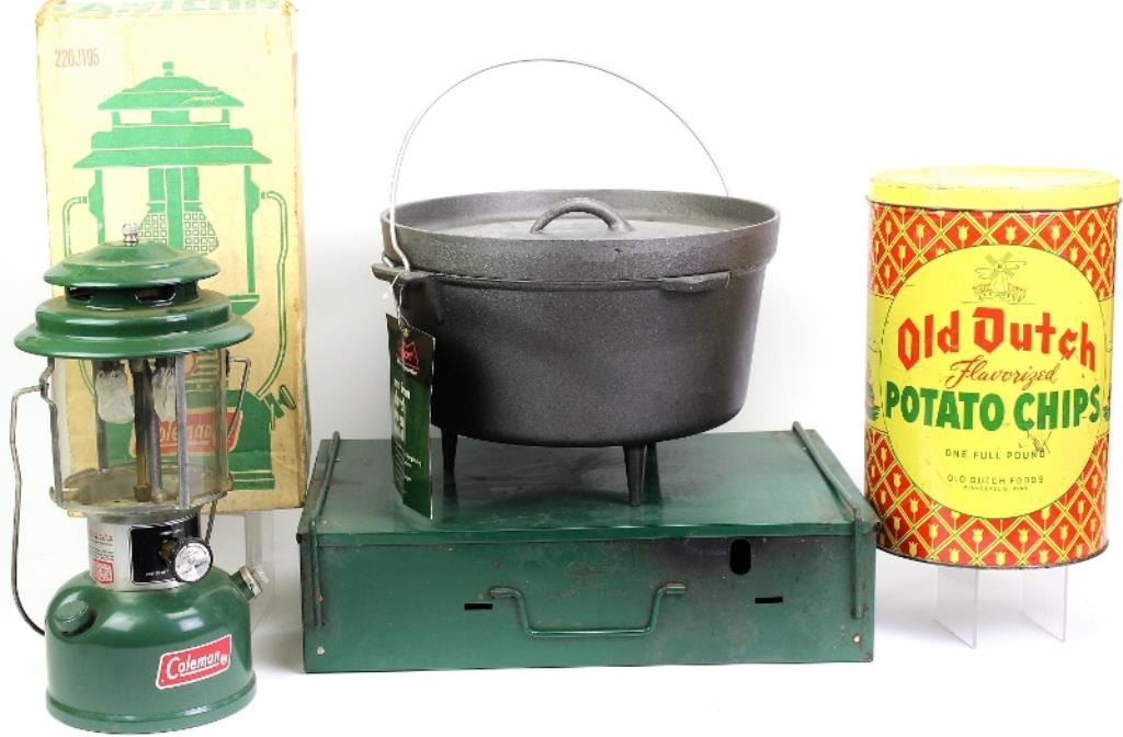 Collection of 4 includes vintage Coleman camp lantern, camp stove