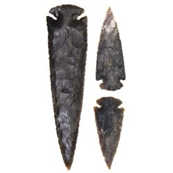 """Collection of 3 includes large 6 1/2"""" spear point and 2) arrowheads, all complete, age unknown."""