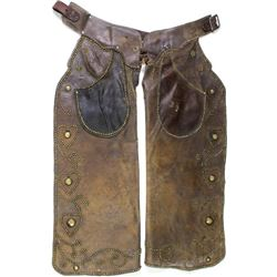 Classic cowboy chaps unmarked, heavily spotted with alot of cowboy use.