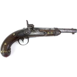 Antique percussion pistol converted from flintlock, marked A Waters Milbury, MS 1838, brass tacked,