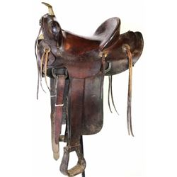 "Round skirt leather saddle marked Rancho Grande Magdalena Sonora, good usable shape, 14"" seat."