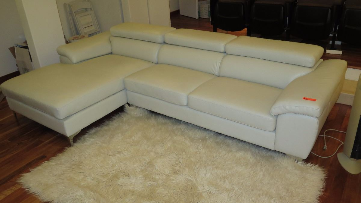 Modern 3-Piece Gray Leather Sofa Sectional w/Large Ottoman ...