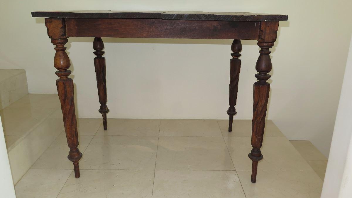 Vintage Wood Table With Swirl Carved Legs Koa Wood