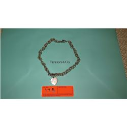 Tiffany & Co. Sterling Silver Link Chain Choker Collar Necklace w/ Heart Charm