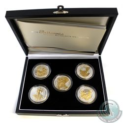 2006 $2 Britannia Golden Silhouette 1oz Fine Silver 5-Coin Collection (TAX Exempt). Limited Mintage